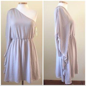 Alice & Olivia NWT Gray One Shoulder Grecian Dress